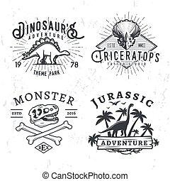 insegne, stegosaurus, concetto, logos., cranio, giurassico, dino, vendemmia, parco, periodo, illustrazione, t-rex, t-shirt, fondo., set, avventura, collection., grunge, distintivo, design.
