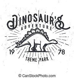 insegne, stegosaurus, grunge, illustration., giurassico, vendemmia, concept., parco, periodo, t-shirt, dinosauro, tema, vettore, avventura, fondo, logotipo, distintivo, design.