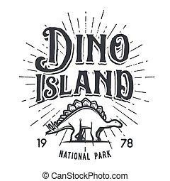 insegne, stegosaurus, illustration., giurassico, dino, isola, concept., parco, periodo, t-shirt, dinosauro, vettore, fondo, vendemmia, logotipo, bianco, distintivo, nazionale, design.