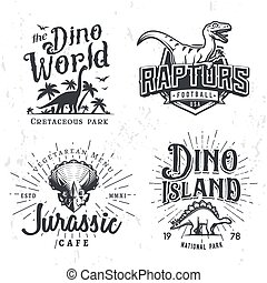 insegne, triceratops, periodo, università, logotipo, sport, template., tesserati magnetici, giurassico, vendemmia, set., parco tema, illustrazione, t-shirt, labels., dinosauro, vettore, squadra, collezione, disegno, raptors, concept.