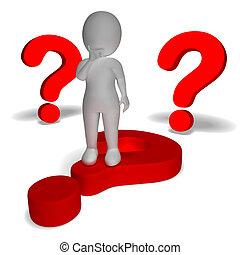 inseguro, alrededor, confusión, signos de interrogación, hombre, exposiciones