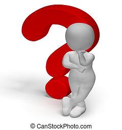 inseguro, confusión, signos de interrogación, hombre, o, exposiciones