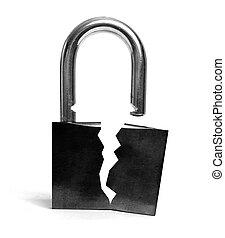 inseguro, roto, cerradura