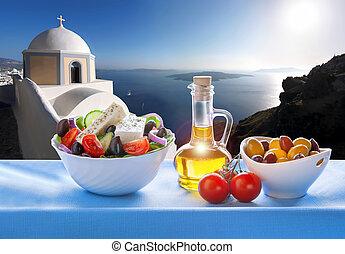 insel, griechenland, santorini, salat, griechischer