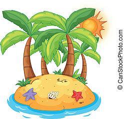 insel, kokosnuss, bäume