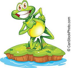 insel, lächeln, frosch