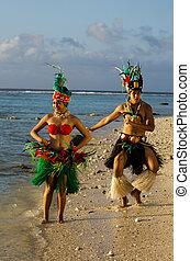insel, paar, tänzer, junger, pazifik, tahitian, polynesian