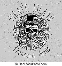insel, schriftart, pirat, weinlese, plakat