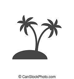 insel, silhouette, wüste