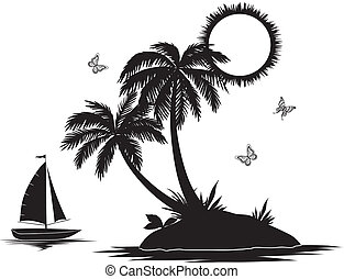 insel, silhouetten, handfläche, schiff