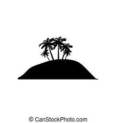 insel, symbol, silhouette