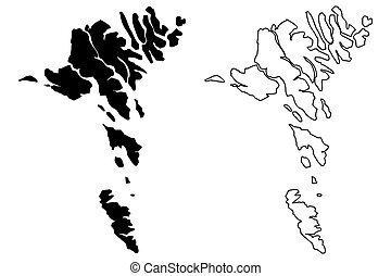 inseln, faroe, landkarte
