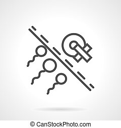 Insemination problem simple line vector icon