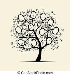 inserção, árvore familiar, desenho, fotografias, bordas, seu