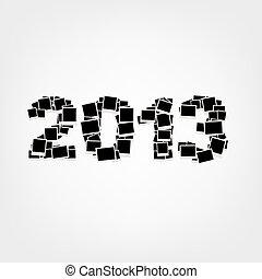 inserção, 2013, fotografias, ano, bordas, novo, seu, cartão