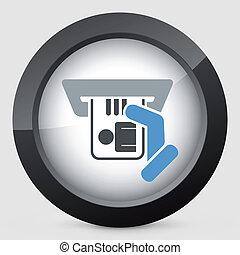 inserção, cartão identidade, ícone