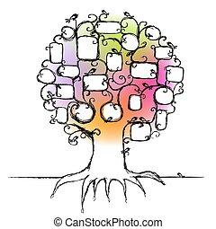 inserção, família, fotografias, árvore, desenho, bordas, seu