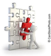 inserção, pessoas, quebra-cabeça, -, pequeno, vermelho, 3d