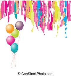 inserção, texto, here., confetti., birthday!, balões, seu, feliz