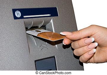 inserções, mão, femininas, cartão, operação bancária
