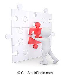 inserções, quebra-cabeça, branca, 3d, vermelho, homem