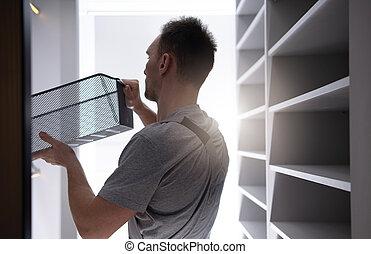 inserindo, marca, balde, gaveta, armário, novo, acabamento, último, apartamento