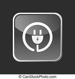 inserire icona, su, grigio, quadrato, bottone