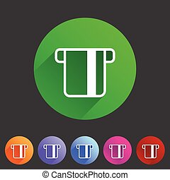 Insert credit card icon flat web sign symbol logo label set