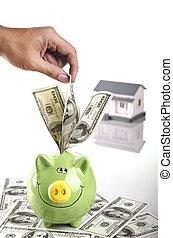 insert money into piggy bank