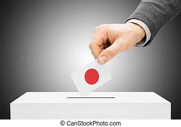 insertar, caja, concepto, -, votación, bandera, japón,...