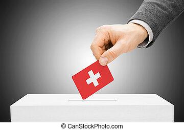 insertar, caja, concepto, -, votación, bandera, suiza,...