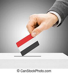 insertar, caja, concepto, -, votación, bandera, yemen,...