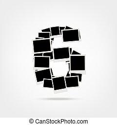 insertar, hecho, marcos, foto, seis, número, fotos, su