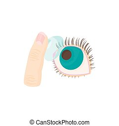 Inserting a contact lens in the eye icon