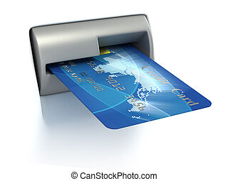 Inserting credit card into ATM 3d illustration