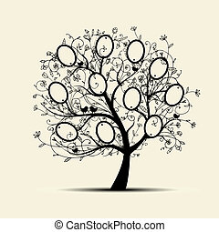 insertion, arbre généalogique, conception, photos, cadres,...