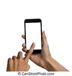 insertion, coupure, smartphone, tenue, use., écran, isolé, haut, arrière-plan., noir, facile, homme, sentier, blanc, main, railler, design.