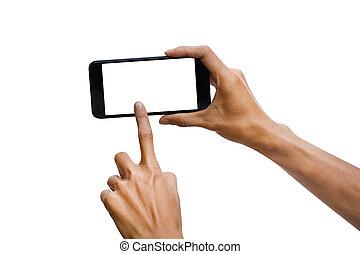 insertion, coupure, smartphone, tenue, use., écran, isolé, haut, arrière-plan., noir, facile, homme, sentier, horizontal, main, blanc, railler, design.