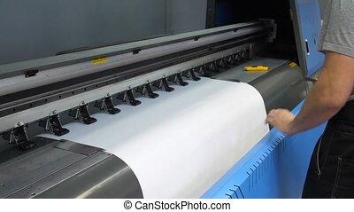 insertion, large-format, jet encre, printer., ouvrier,...