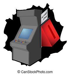 insertion, monnaie, arcade