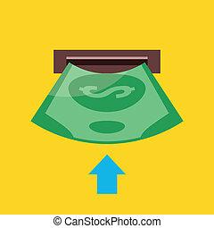 insertion, vecteur, argent, icône