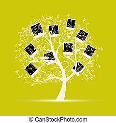 inserto, albero genealogico, disegno, foto, cornici, tuo