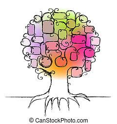 inserto, famiglia, foto, albero, disegno, cornici, tuo