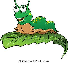 inseto, lagarta verde, caricatura