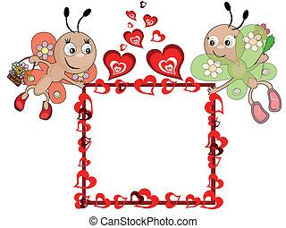 insetos, corações, quadro