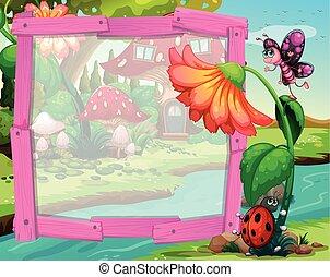 insetos, desenho, flor, borda