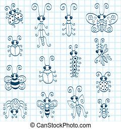 insetos, doodle