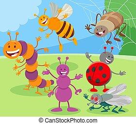 insetos, engraçado, caricatura, animal, caráteres, grupo