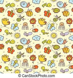 insetos, engraçado, estilo, jogo, crianças