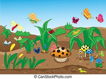 insetos, família, chão